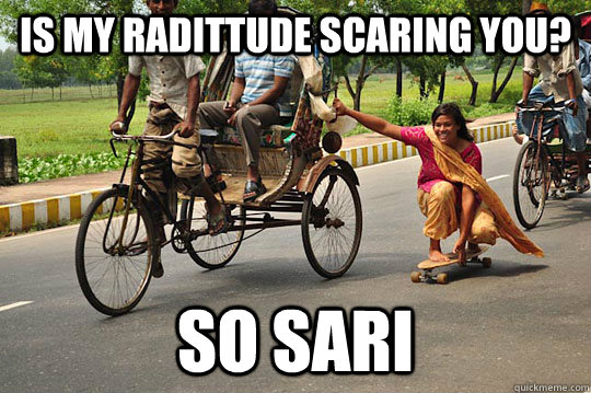 is my radittude scaring you so sari - skating indian woman