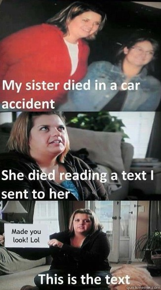 Made you look Lol - car accident text