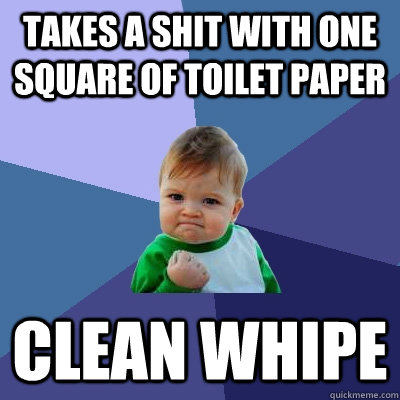 takes a shit with one square of toilet paper clean whipe - Success Kid