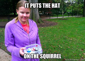 it puts the hat on the squirrel - 
