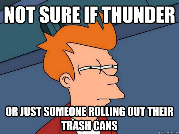not sure if thunder or just someone rolling out their trash  - Futurama Fry