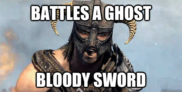 battles a ghost bloody sword - Skyrim