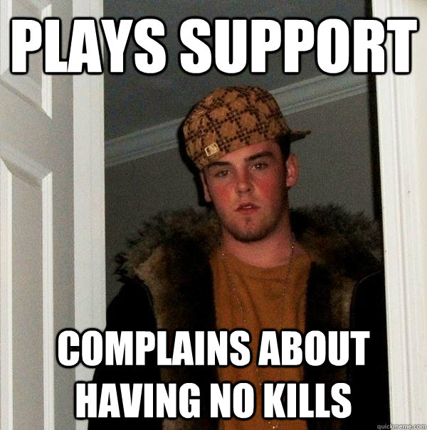 plays support complains about having no kills - Scumbag Steve