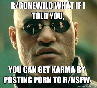 rgonewild what if i told you you can get karma by posting  - Matrix Morpheus