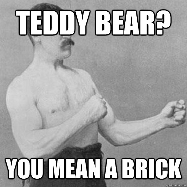 teddy bear you mean a brick - overly manly man