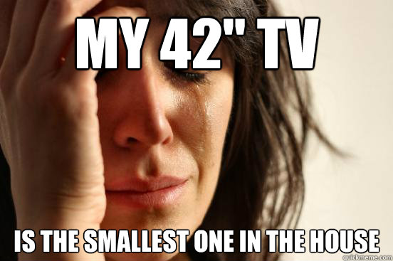 my 42 tv is the smallest one in the house - First World Problems