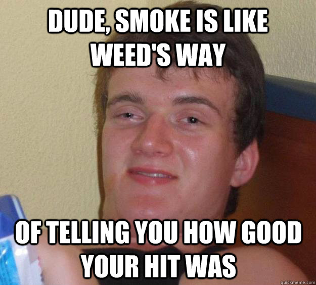 dude smoke is like weeds way of telling you how good your  - 10 Guy