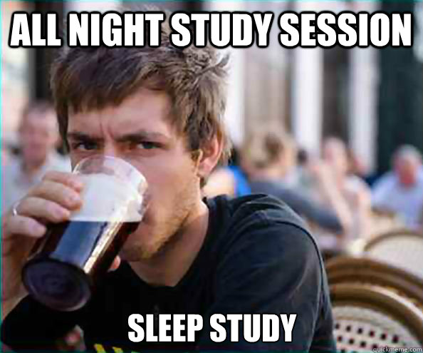 all night study session sleep study - Lazy College Senior