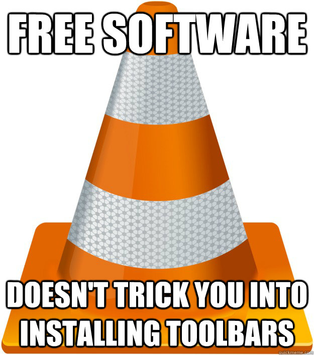 free software doesnt trick you into installing toolbars -