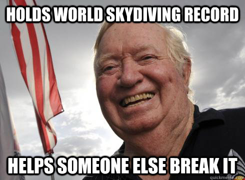 holds world skydiving record helps someone else break it -