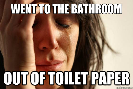 went to the bathroom out of toilet paper - First World Problems