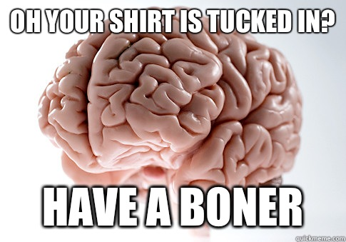 Your shirt is tucked in Have a boner - Scumbag Brain