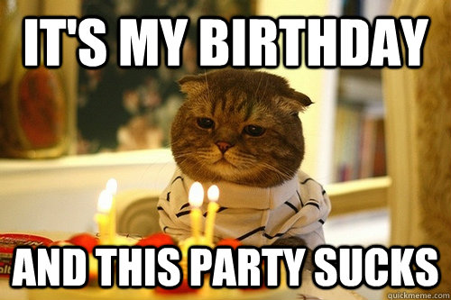 its my birthday and this party sucks - Dissapointed Birthday Cat