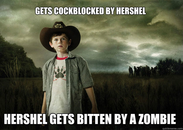 gets cockblocked by hershel hershel gets bitten by a zombie - Carl Grimes Walking Dead