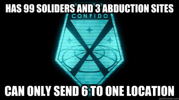 has 99 soliders and 3 abduction sites can only send 6 to one -
