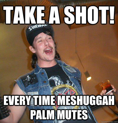 take a shot every time meshuggah palm mutes - Extremely Drunk Metalhead