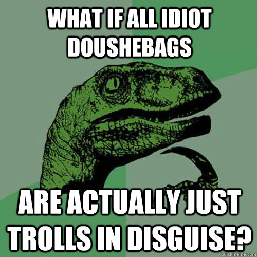 what if all idiot doushebags are actually just trolls in dis - Philosoraptor