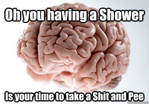 oh you having a shower is your time to take a shit and pee  - Scumbag Brain