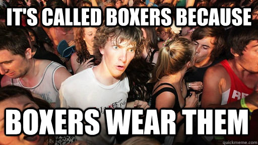 its called boxers because boxers wear them - Sudden Clarity Clarence