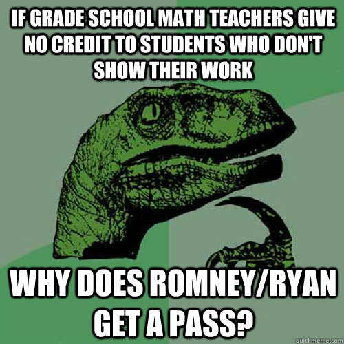 if grade school math teachers give no credit to students who - Philosoraptor