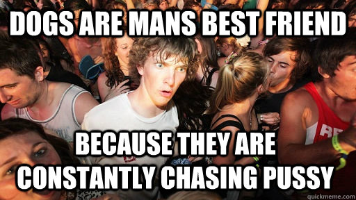 dogs are mans best friend because they are constantly chasin - Sudden Clarity Clarence