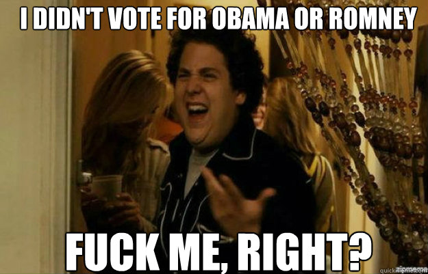 i didnt vote for obama or romney fuck me right - fuck me right