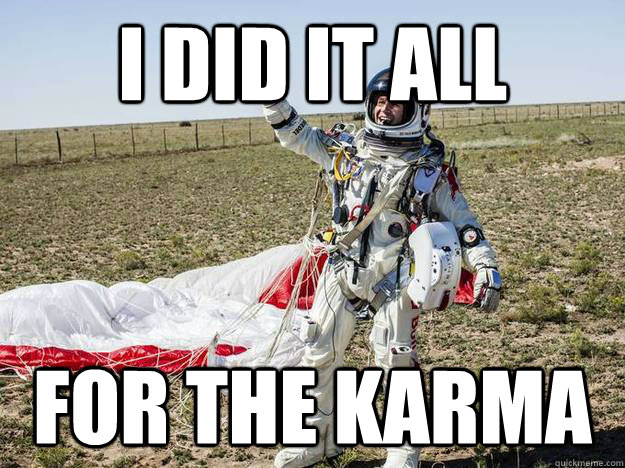 i did it all for the karma -