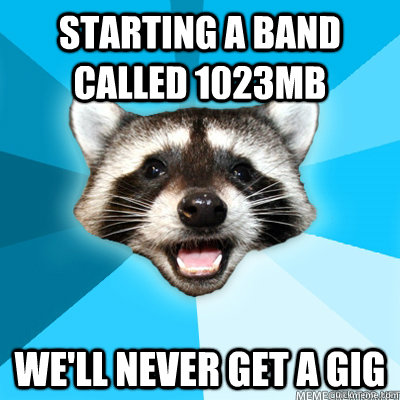 starting a band called 1023mb well never get a gig - Lame Pun Coon