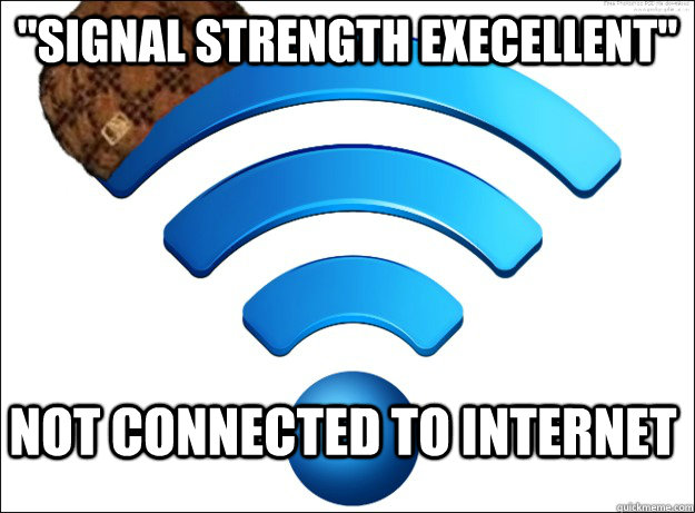 signal strength execellent not connected to internet - Scumbag Wireless