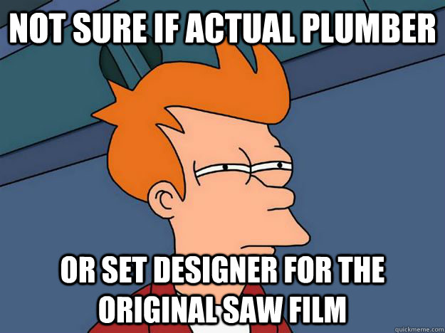 not sure if actual plumber or set designer for the original  - Skeptical fry