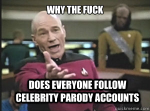 why the fuck does everyone follow celebrity parody accounts - Annoyed Picard