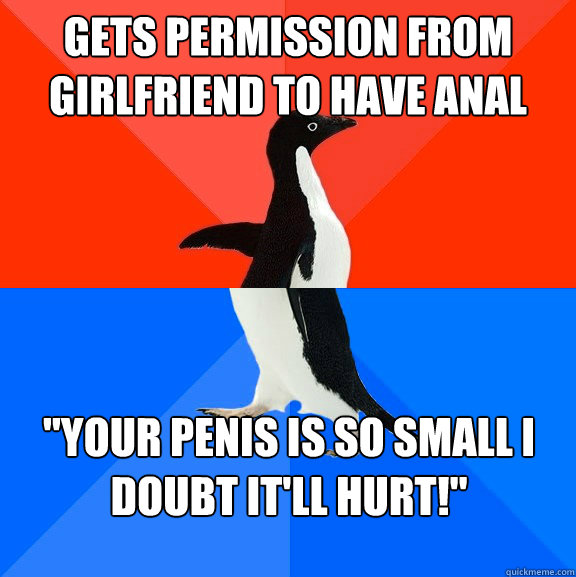gets permission from girlfriend to have anal your penis is  - Socially awesome awkward penguin