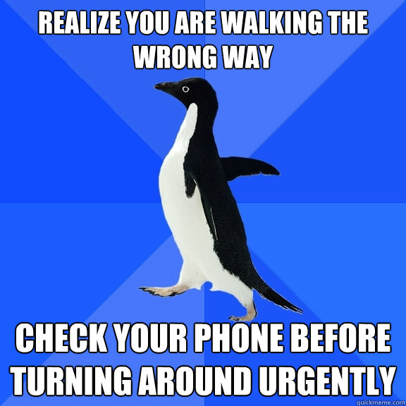 realize you are walking the wrong way check your phone befor - Socially Awkward Penguin