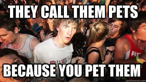 they call them pets because you pet them - Sudden Clarity Clarence
