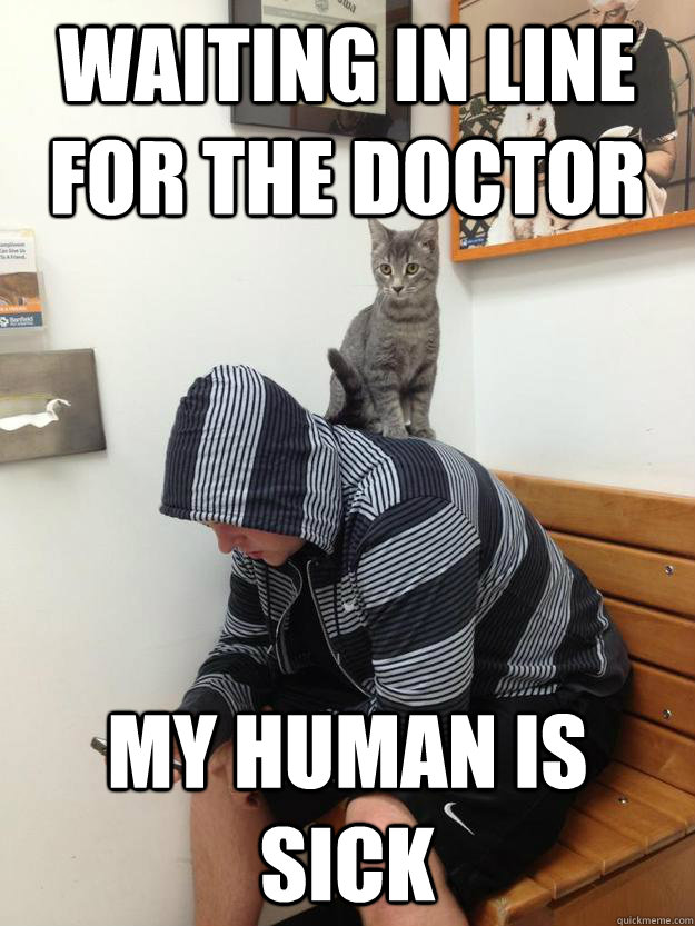 waiting in line for the doctor my human is sick -