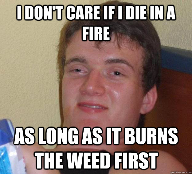 i dont care if i die in a fire as long as it burns the weed - 10 Guy