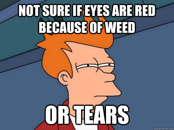not sure if eyes are red because of weed or tears - Futurama Fry