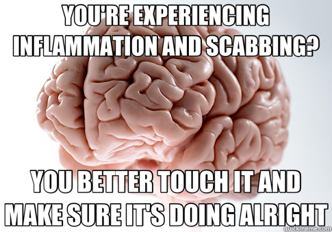 YOU'RE EXPERIENCING INFLAMMATION AND SCABBING? YOU BETTER TO - Scumbag Brain
