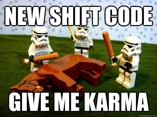 new shift code give me karma - Beating a Dead Horse