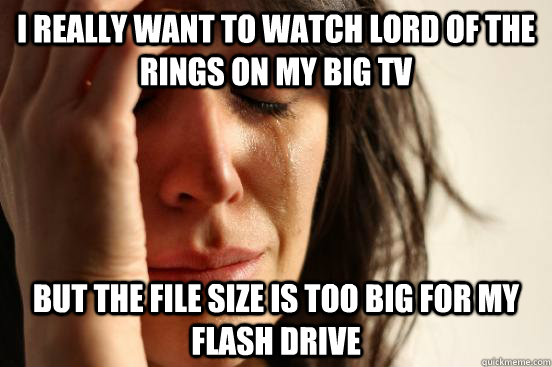 i really want to watch lord of the rings on my big tv but th - First World Problems