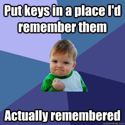 put keys in a place id remember them actually remembered - Success Kid