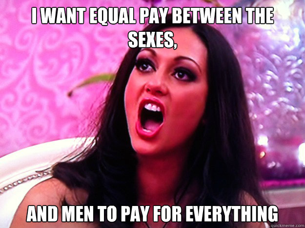 i want equal pay between the sexes and men to pay for every - Feminist Nazi