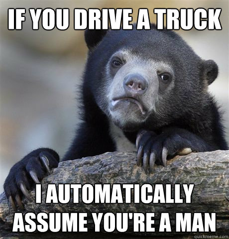 if you drive a truck i automatically assume youre a man - Confession Bear