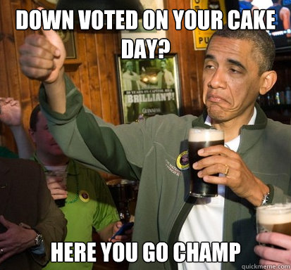 down voted on your cake day here you go champ  - Upvote Obama
