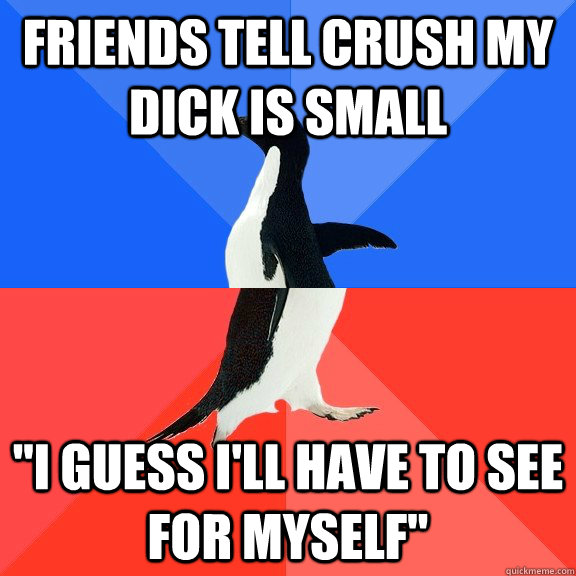 friends tell crush my dick is small i guess ill have to se - Socially Awkward Awesome Penguin