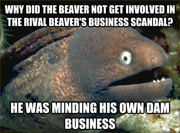 why did the beaver not get involved in the rival beavers bu - Bad Joke Eel