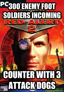 300 enemy foot soldiers incoming counter with 3 attack dogs - Red Alert 2 Logic