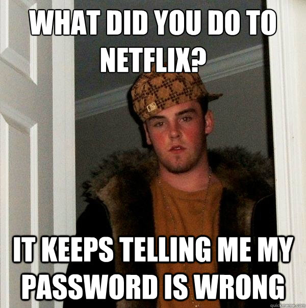 what did you do to netflix it keeps telling me my password  - Scumbag Steve