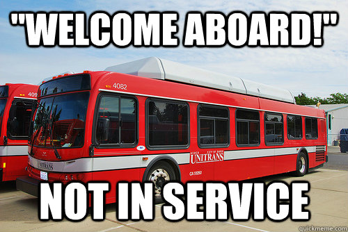 welcome aboard not in service -