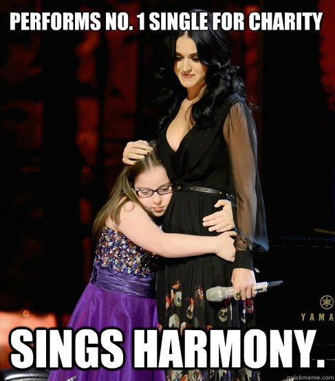 performs no 1 single for charity sings harmony - Good Girl Katy Perry